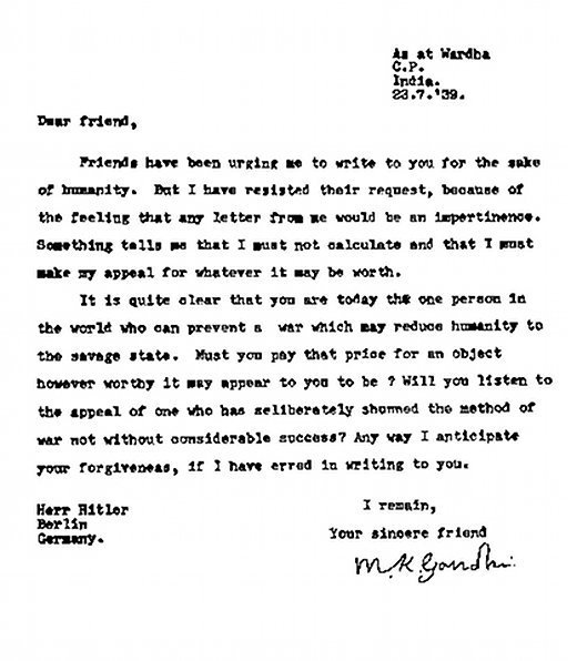 Rare Letter was written by Mahatma Gandhi to Hitler pleading him to stop reducing humanity, 1939